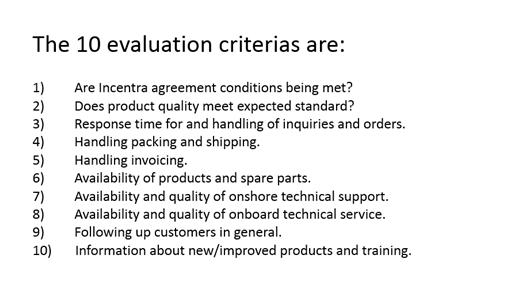 10 Eval. criterias